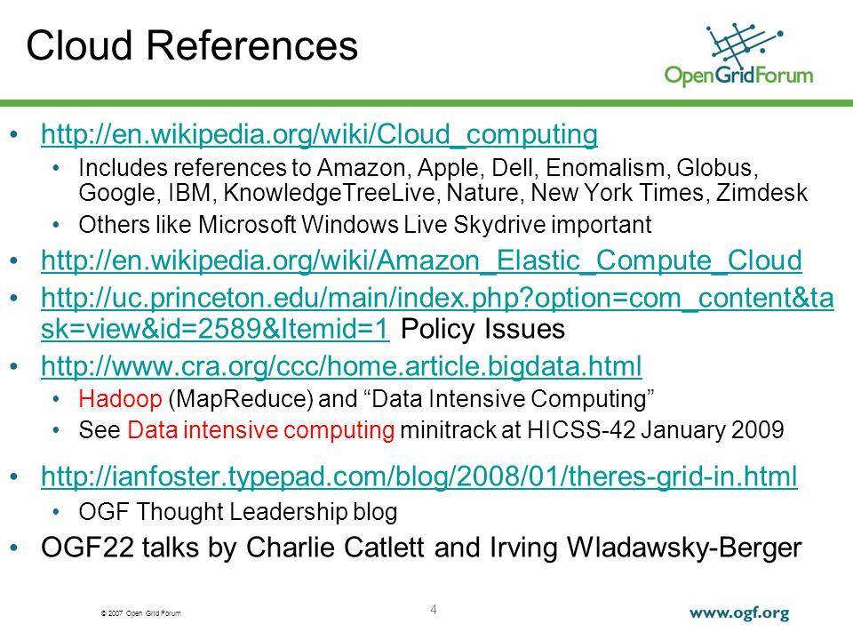 © 2007 Open Grid Forum 5 Big-Data Computing Study Group CCC Role Versus OGF.