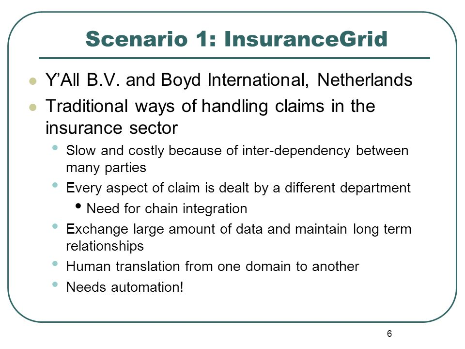 6 Scenario 1: InsuranceGrid YAll B.V. and Boyd International, Netherlands Traditional ways of handling claims in the insurance sector Slow and costly