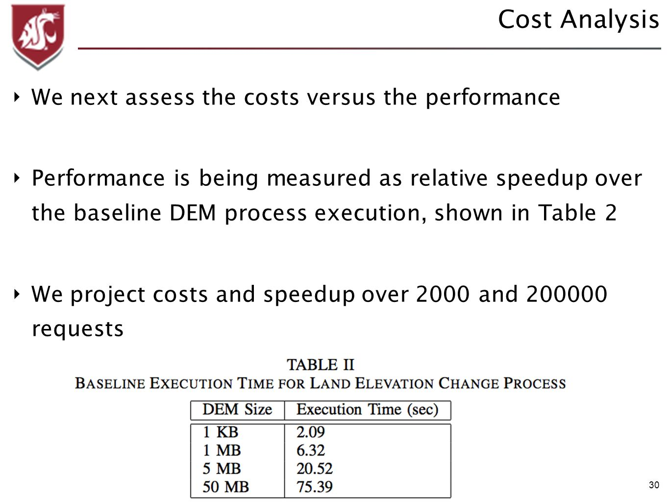 30 Cost Analysis We next assess the costs versus the performance Performance is being measured as relative speedup over the baseline DEM process execution, shown in Table 2 We project costs and speedup over 2000 and requests