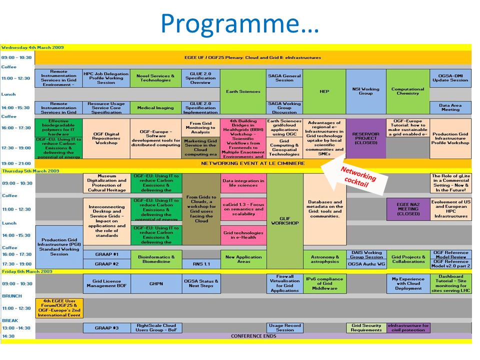 Programme… Networking cocktail