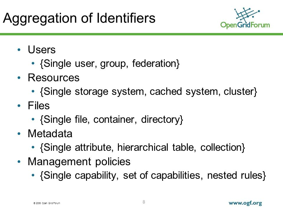© 2006 Open Grid Forum 8 Aggregation of Identifiers Users {Single user, group, federation} Resources {Single storage system, cached system, cluster} F