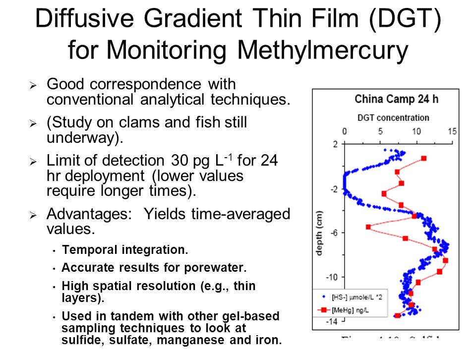 12 Diffusive Gradient Thin Film (DGT) for Monitoring Methylmercury Good correspondence with conventional analytical techniques.