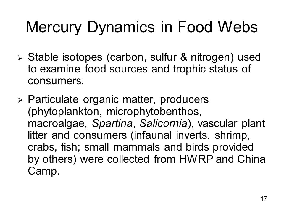 17 Mercury Dynamics in Food Webs Stable isotopes (carbon, sulfur & nitrogen) used to examine food sources and trophic status of consumers.