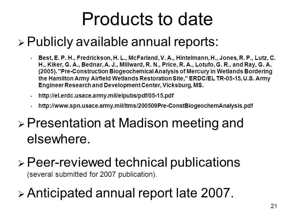 21 Products to date Publicly available annual reports: Best, E.