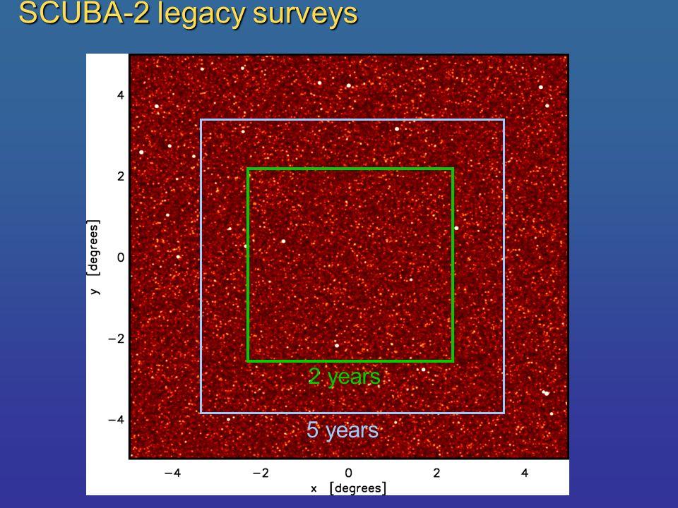 SCUBA-2 legacy surveys 2 years 5 years