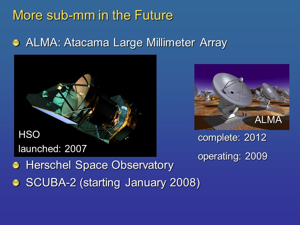 More sub-mm in the Future ALMA: Atacama Large Millimeter Array Herschel Space Observatory SCUBA-2 (starting January 2008) HSO ALMA complete: 2012 oper