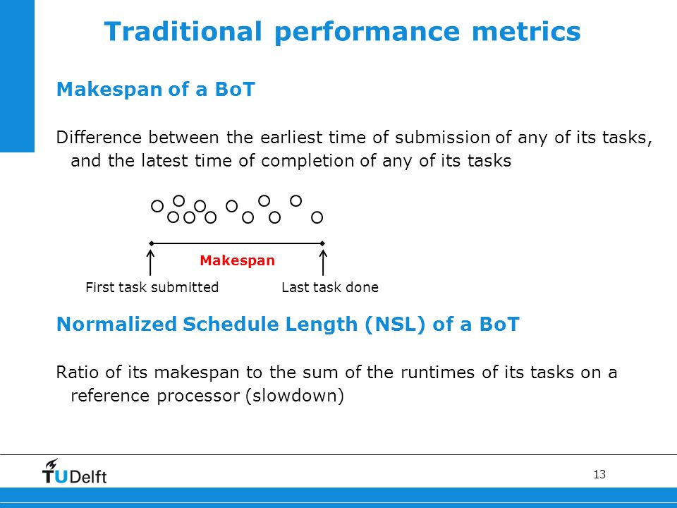 13 Traditional performance metrics Makespan of a BoT Difference between the earliest time of submission of any of its tasks, and the latest time of completion of any of its tasks Normalized Schedule Length (NSL) of a BoT Ratio of its makespan to the sum of the runtimes of its tasks on a reference processor (slowdown) First task submittedLast task done Makespan