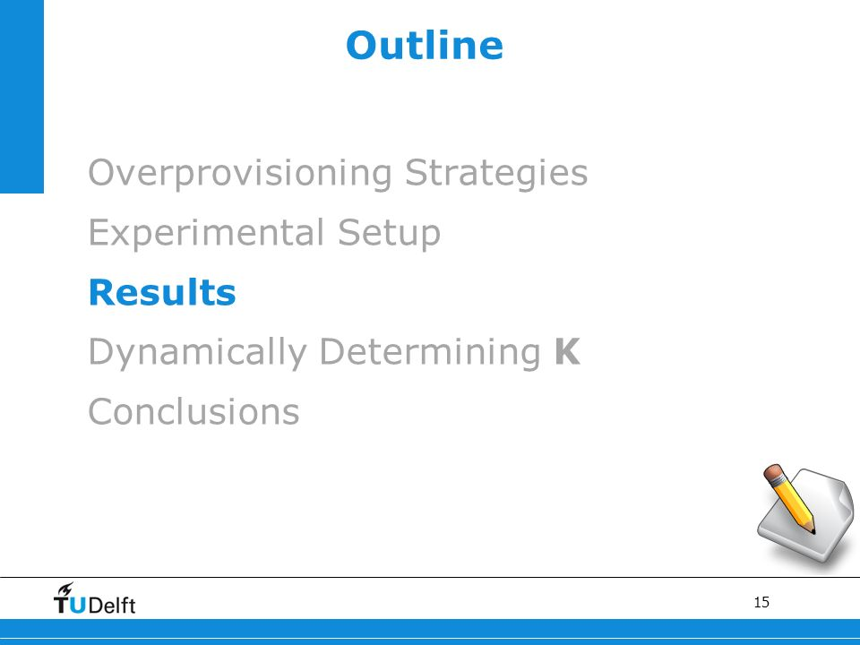 15 Outline Overprovisioning Strategies Experimental Setup Results Dynamically Determining Κ Conclusions