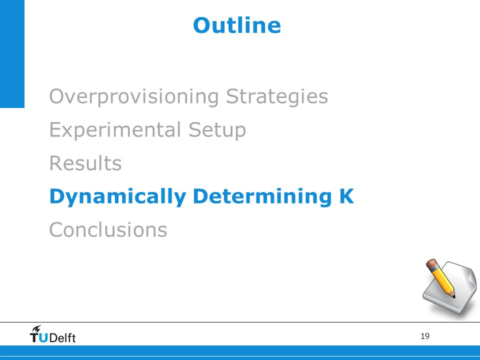 19 Outline Overprovisioning Strategies Experimental Setup Results Dynamically Determining Κ Conclusions