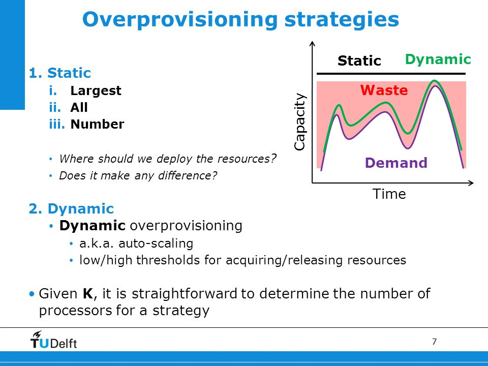 7 1. Static i.Largest ii.All iii.Number Where should we deploy the resources ? Does it make any difference? 2. Dynamic Dynamic overprovisioning a.k.a.