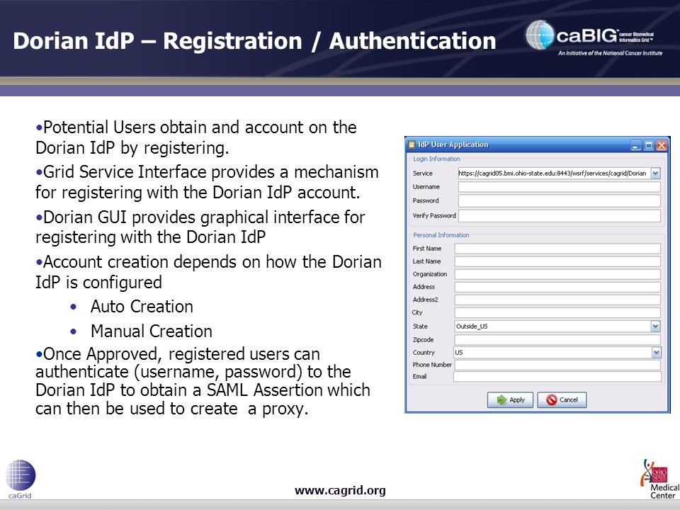 www.cagrid.org Dorian IdP – Registration / Authentication Potential Users obtain and account on the Dorian IdP by registering.