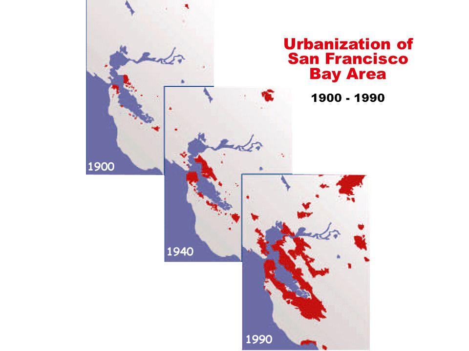 Urbanization of San Francisco Bay Area 1900 - 1990