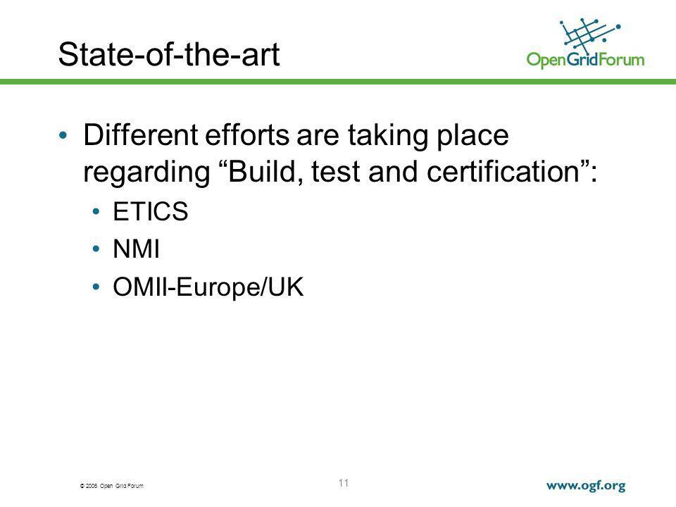 © 2006 Open Grid Forum 11 State-of-the-art Different efforts are taking place regarding Build, test and certification: ETICS NMI OMII-Europe/UK