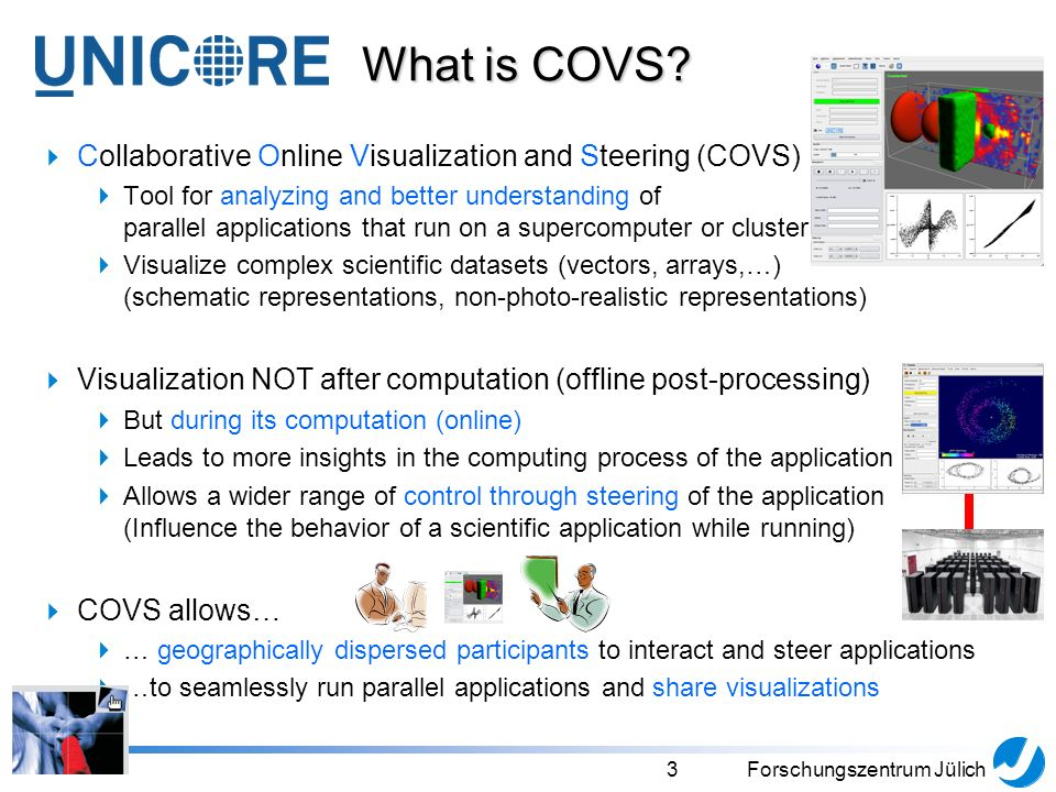 3Forschungszentrum Jülich Collaborative Online Visualization and Steering (COVS) Tool for analyzing and better understanding of parallel applications