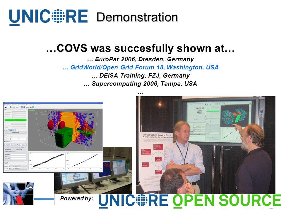 9Forschungszentrum Jülich …COVS was succesfully shown at… … EuroPar 2006, Dresden, Germany … GridWorld/Open Grid Forum 18, Washington, USA … DEISA Training, FZJ, Germany … Supercomputing 2006, Tampa, USA … Demonstration Powered by: