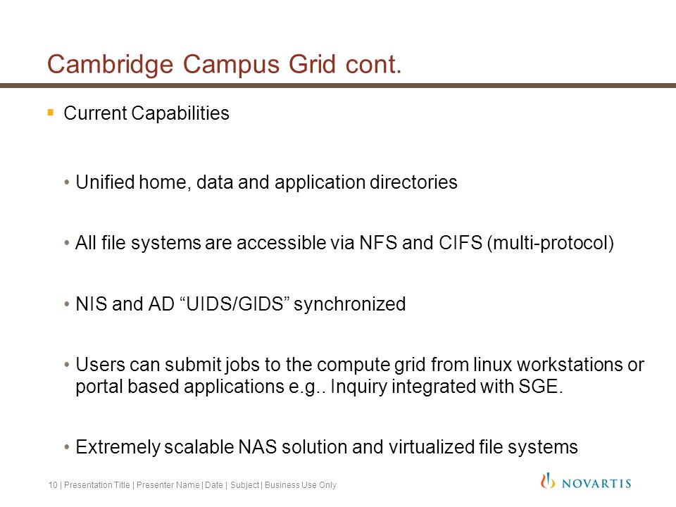 10 | Presentation Title | Presenter Name | Date | Subject | Business Use Only Cambridge Campus Grid cont. Current Capabilities Unified home, data and