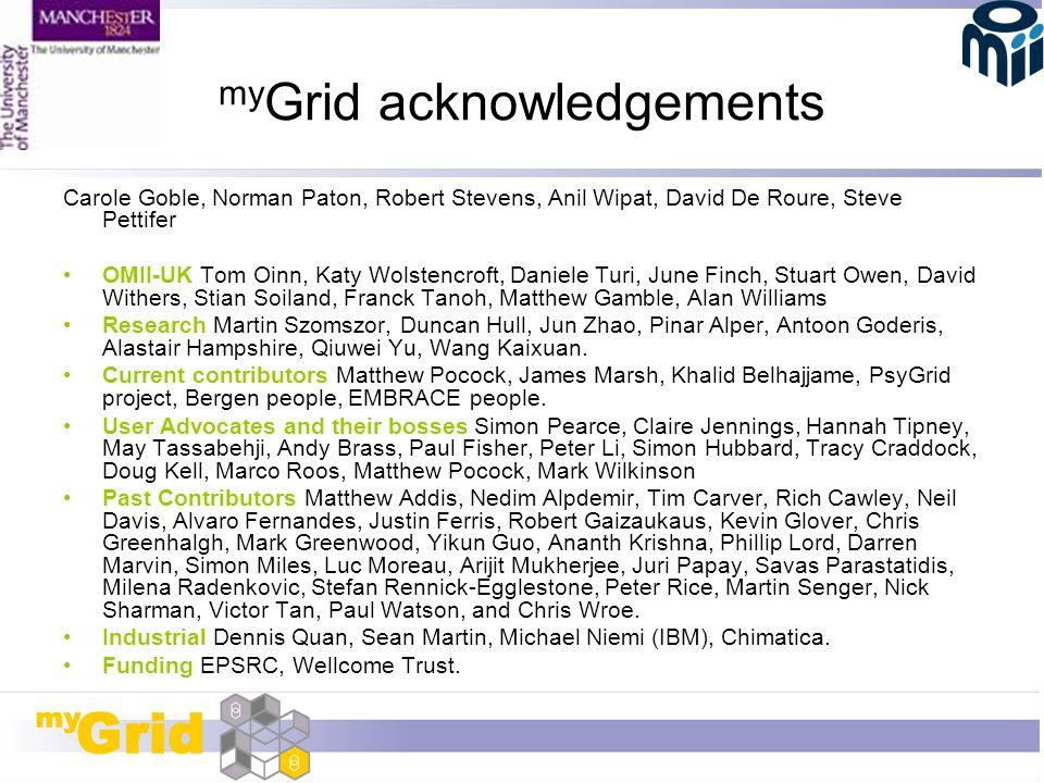 my Grid acknowledgements Carole Goble, Norman Paton, Robert Stevens, Anil Wipat, David De Roure, Steve Pettifer OMII-UK Tom Oinn, Katy Wolstencroft, D
