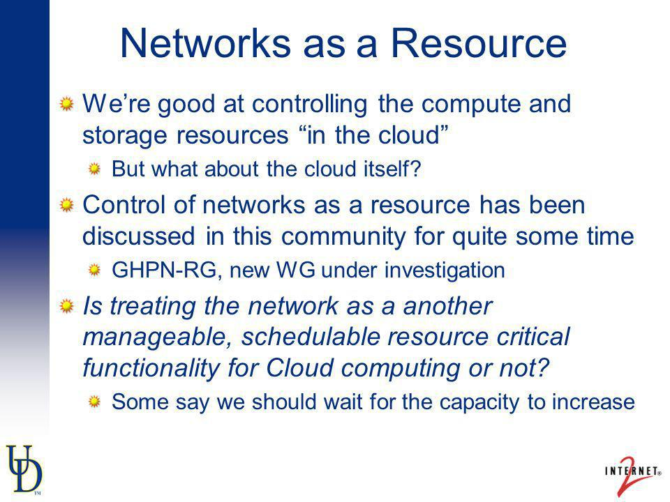 Networks as a Resource Were good at controlling the compute and storage resources in the cloud But what about the cloud itself.
