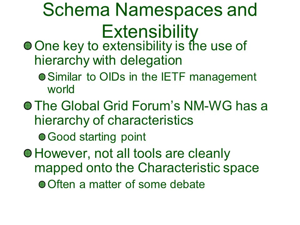 Schema Namespaces and Extensibility One key to extensibility is the use of hierarchy with delegation Similar to OIDs in the IETF management world The Global Grid Forums NM-WG has a hierarchy of characteristics Good starting point However, not all tools are cleanly mapped onto the Characteristic space Often a matter of some debate