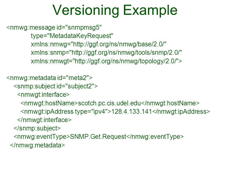 Versioning Example <nmwg:message id= snmpmsg5 type= MetadataKeyRequest xmlns:nmwg= http://ggf.org/ns/nmwg/base/2.0/ xmlns:snmp= http://ggf.org/ns/nmwg/tools/snmp/2.0/ xmlns:nmwgt= http://ggf.org/ns/nmwg/topology/2.0/ > scotch.pc.cis.udel.edu 128.4.133.141 SNMP.Get.Request