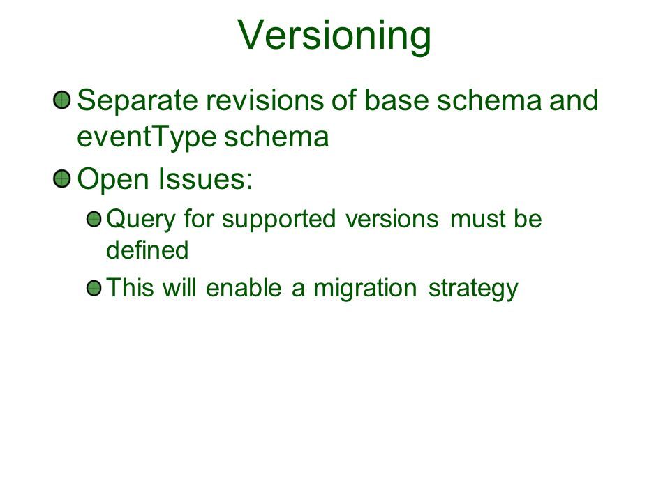 Versioning Separate revisions of base schema and eventType schema Open Issues: Query for supported versions must be defined This will enable a migrati