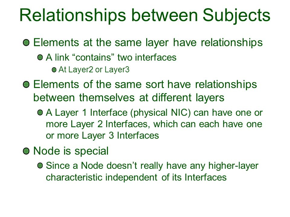 Relationships between Subjects Elements at the same layer have relationships A link contains two interfaces At Layer2 or Layer3 Elements of the same sort have relationships between themselves at different layers A Layer 1 Interface (physical NIC) can have one or more Layer 2 Interfaces, which can each have one or more Layer 3 Interfaces Node is special Since a Node doesnt really have any higher-layer characteristic independent of its Interfaces
