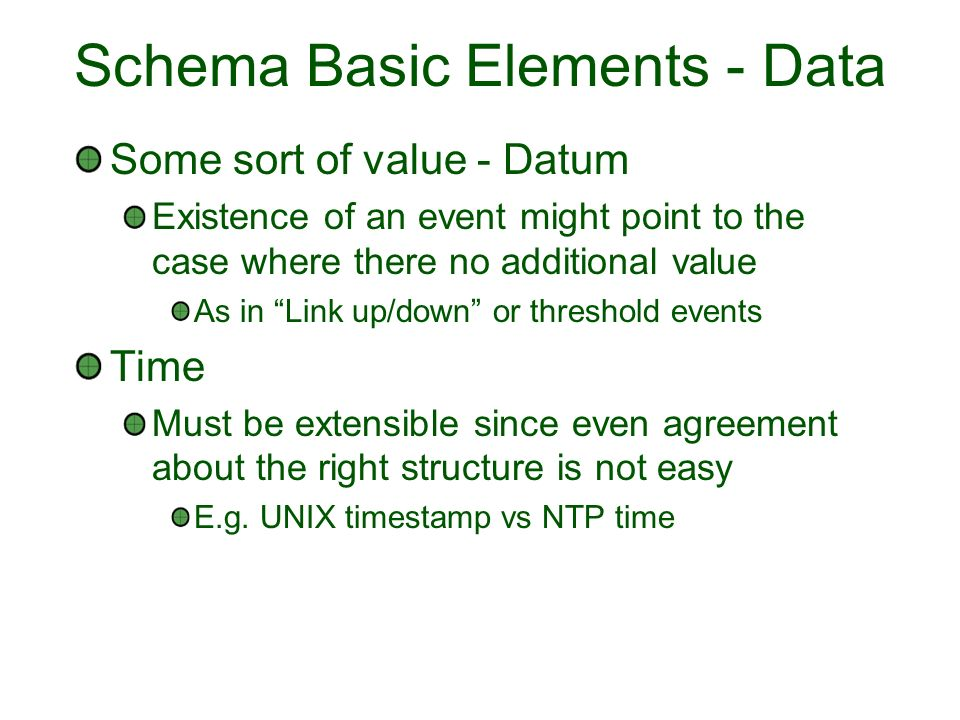 Schema Basic Elements - Data Some sort of value - Datum Existence of an event might point to the case where there no additional value As in Link up/down or threshold events Time Must be extensible since even agreement about the right structure is not easy E.g.