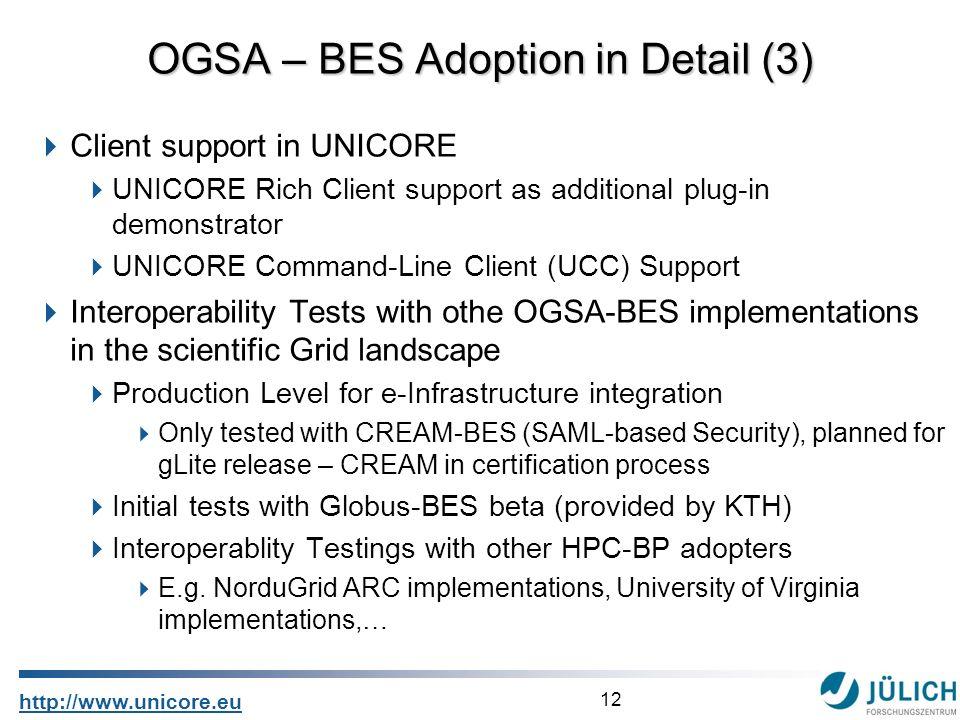 12 http://www.unicore.eu Client support in UNICORE UNICORE Rich Client support as additional plug-in demonstrator UNICORE Command-Line Client (UCC) Su