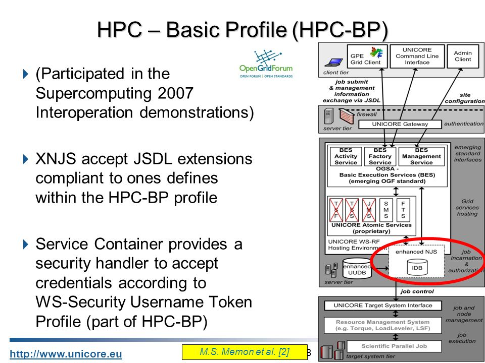8 http://www.unicore.eu (Participated in the Supercomputing 2007 Interoperation demonstrations) XNJS accept JSDL extensions compliant to ones defines within the HPC-BP profile Service Container provides a security handler to accept credentials according to WS-Security Username Token Profile (part of HPC-BP) HPC – Basic Profile (HPC-BP) M.S.