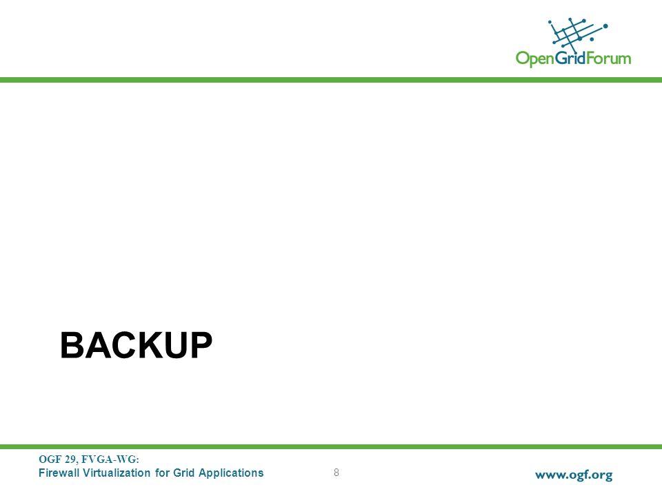 OGF 29, FVGA-WG: Firewall Virtualization for Grid Applications BACKUP 8
