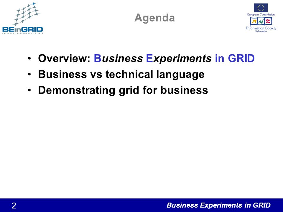 Business Experiments in GRID 2 Agenda Overview: Business Experiments in GRID Business vs technical language Demonstrating grid for business