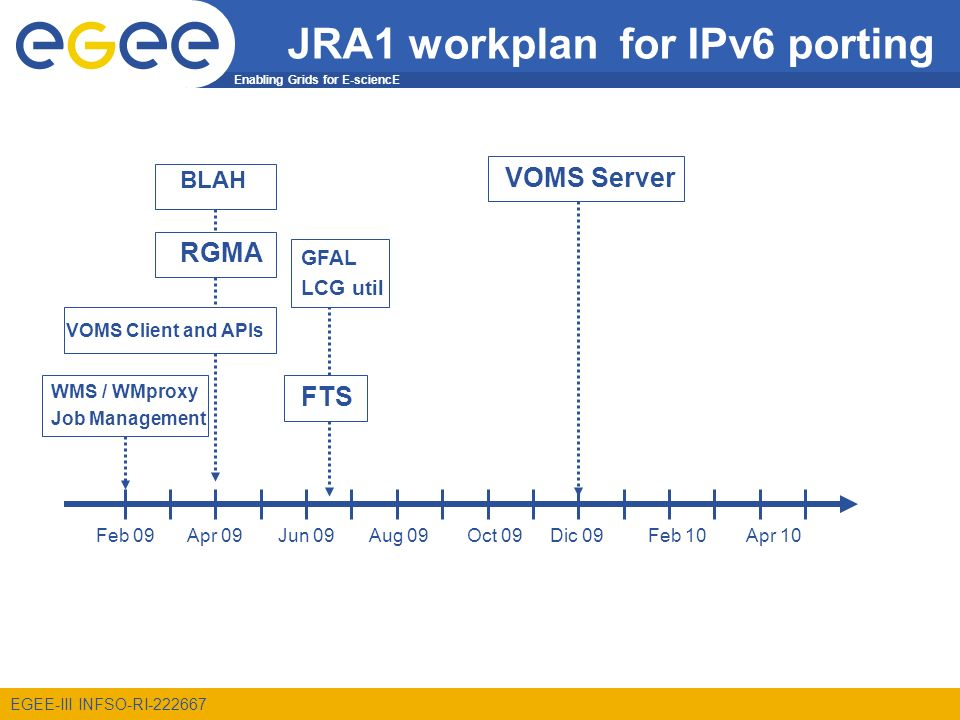 Enabling Grids for E-sciencE EGEE-III INFSO-RI-222667 JRA1 workplan for IPv6 porting BLAH WMS / WMproxy Job Management GFAL LCG util FTS VOMS Client and APIs Apr 09 VOMS Server RGMA Jun 09Apr 10Aug 09Oct 09Dic 09Feb 10Feb 09