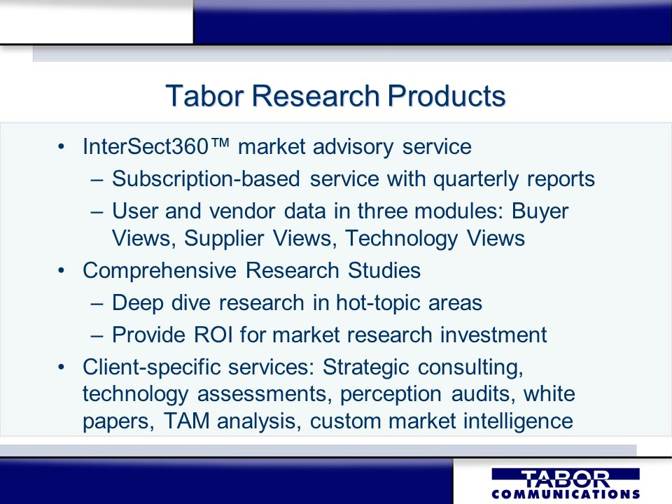 Tabor Research Products InterSect360 market advisory service –Subscription-based service with quarterly reports –User and vendor data in three modules