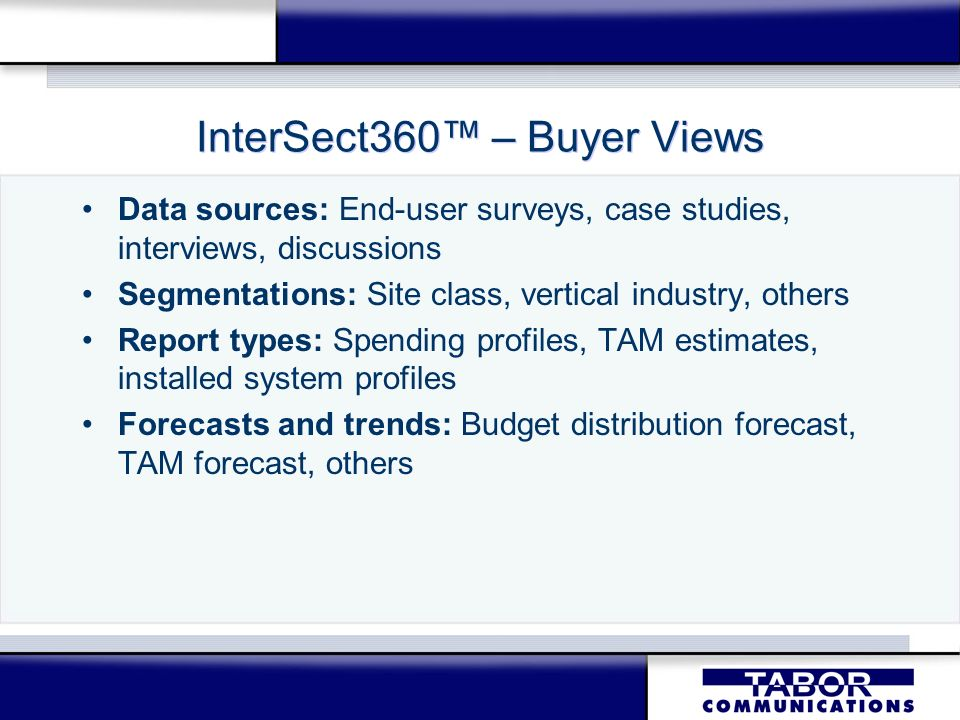 InterSect360 – Buyer Views Data sources: End-user surveys, case studies, interviews, discussions Segmentations: Site class, vertical industry, others Report types: Spending profiles, TAM estimates, installed system profiles Forecasts and trends: Budget distribution forecast, TAM forecast, others Data sources: End-user surveys, case studies, interviews, discussions Segmentations: Site class, vertical industry, others Report types: Spending profiles, TAM estimates, installed system profiles Forecasts and trends: Budget distribution forecast, TAM forecast, others