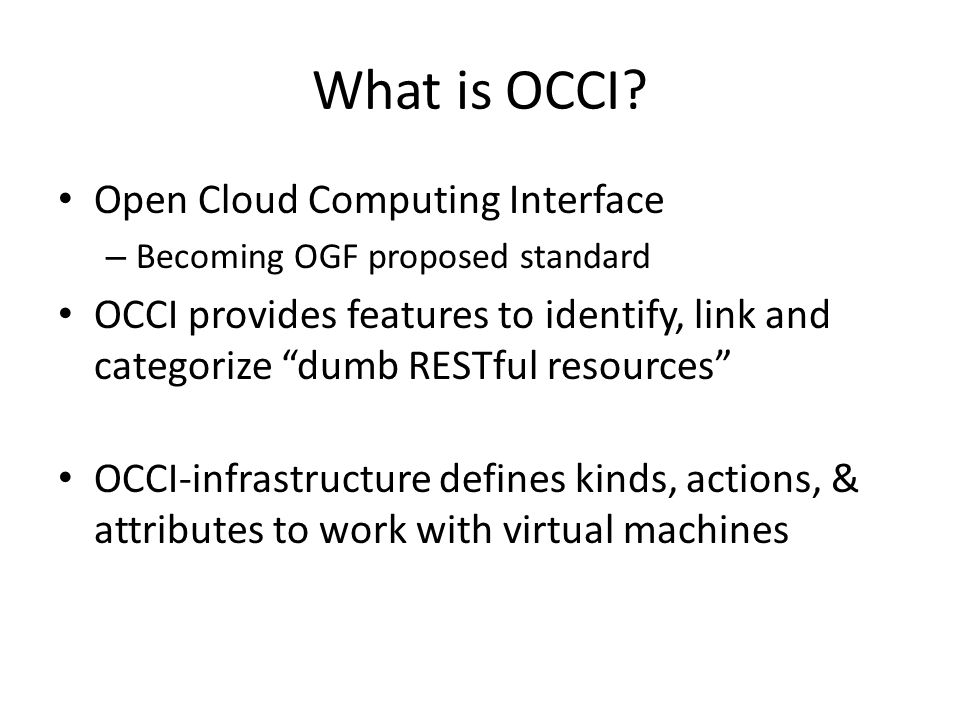 What is OCCI.