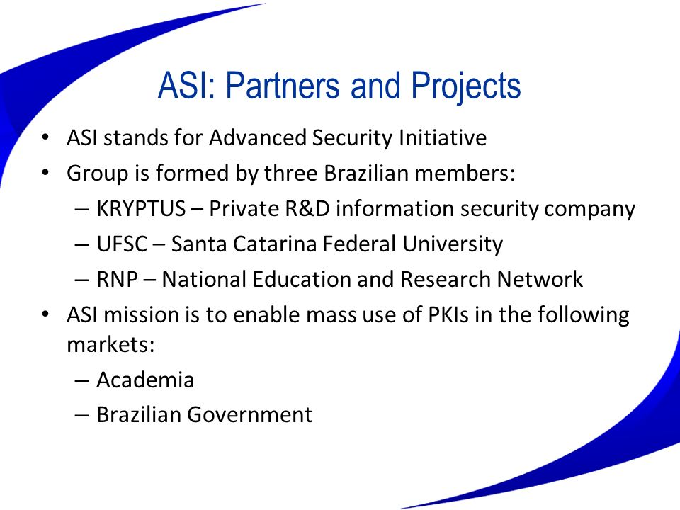 RNP National Education and Research Network - RNP Operates the Brazilian academic backbone –Also used by other federal organizations Maintains its own links to US Associated to the Ministry of Science and Technology Promotes the development and testing of advanced networking applications Cooperative efforts with other South American Nations
