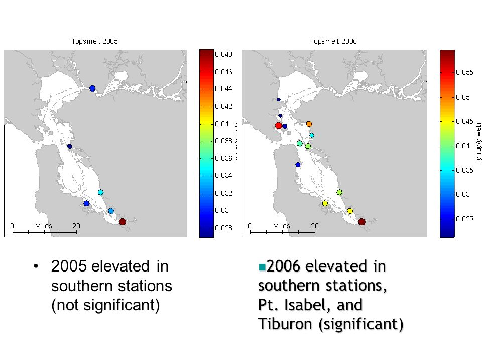 Potential explanations for spatial patterns: –High sediment MeHg in southern stations, Tiburon –Suggests linkage: fish vs.
