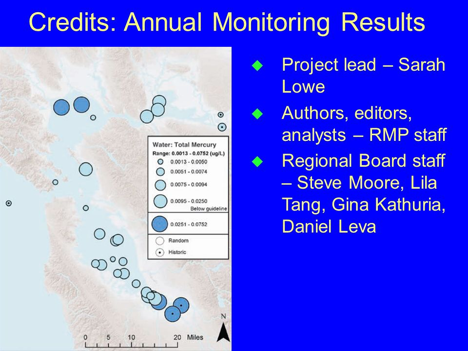 Credits: Annual Monitoring Results u Project lead – Sarah Lowe u Authors, editors, analysts – RMP staff u Regional Board staff – Steve Moore, Lila Tan
