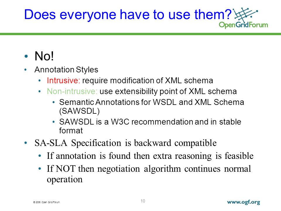 © 2006 Open Grid Forum Does everyone have to use them? No! Annotation Styles Intrusive: require modification of XML schema Non-intrusive: use extensib