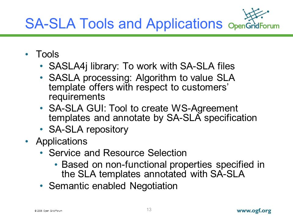 © 2006 Open Grid Forum 13 SA-SLA Tools and Applications Tools SASLA4j library: To work with SA-SLA files SASLA processing: Algorithm to value SLA temp