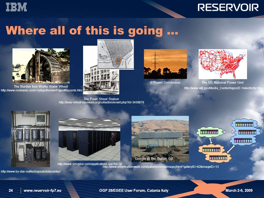 www.reservoir-fp7.eu March 2-6, 2009OGF 25/EGEE User Forum, Catania Italy24 Where all of this is going … http://www.anl.gov/Media_Center/logos22-1/electricity.htm The US National Power Grid http://www.rootsweb.com/~nytigs/BurdenPayrollRecords.htm The Burden Iron Works Water Wheel http://ieee-virtual-museum.org/collection/event.php?id=3456876 The Pearl Street Station http://www.by-star.net/techspeak/datacenter/ http://www.smcplus.com/applications.asp?id=32 http://www.informationweek.com/galleries/showImage.jhtml?galleryID=62&imageID=13 Google @ The Dulles, OR Efficient Distribution