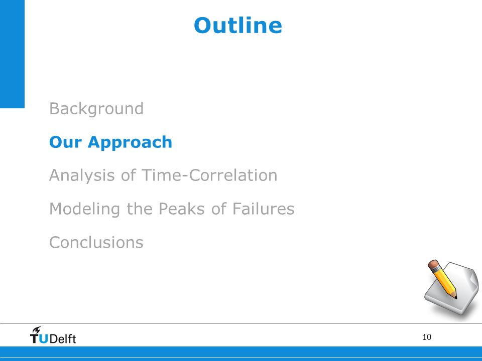 10 Outline Background Our Approach Analysis of Time-Correlation Modeling the Peaks of Failures Conclusions