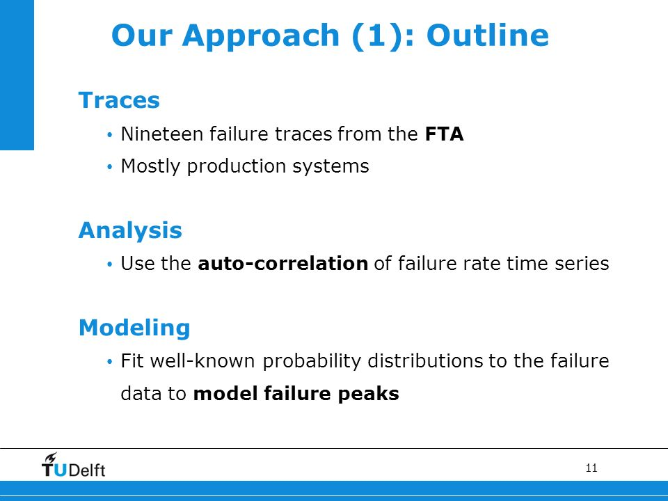 11 Our Approach (1): Outline Traces Nineteen failure traces from the FTA Mostly production systems Analysis Use the auto-correlation of failure rate t