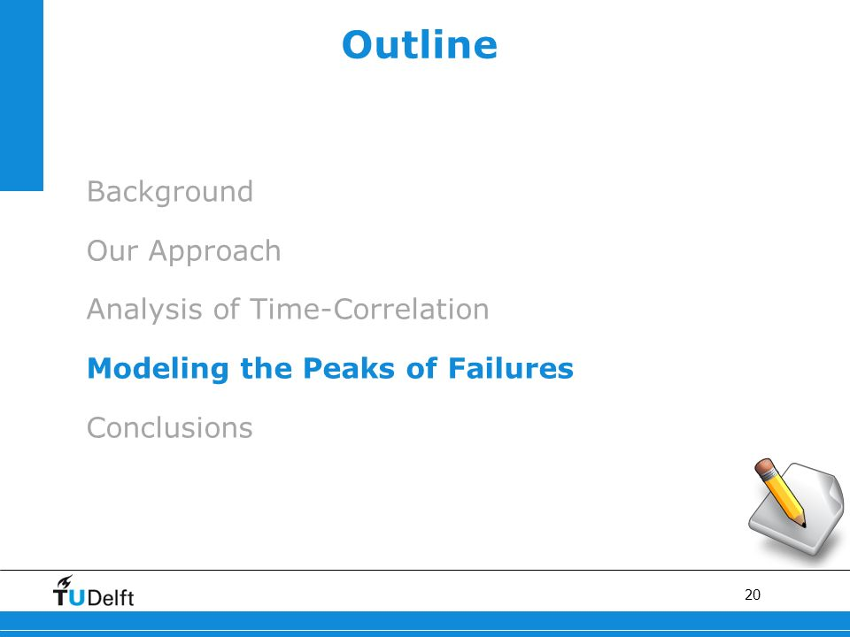 20 Outline Background Our Approach Analysis of Time-Correlation Modeling the Peaks of Failures Conclusions