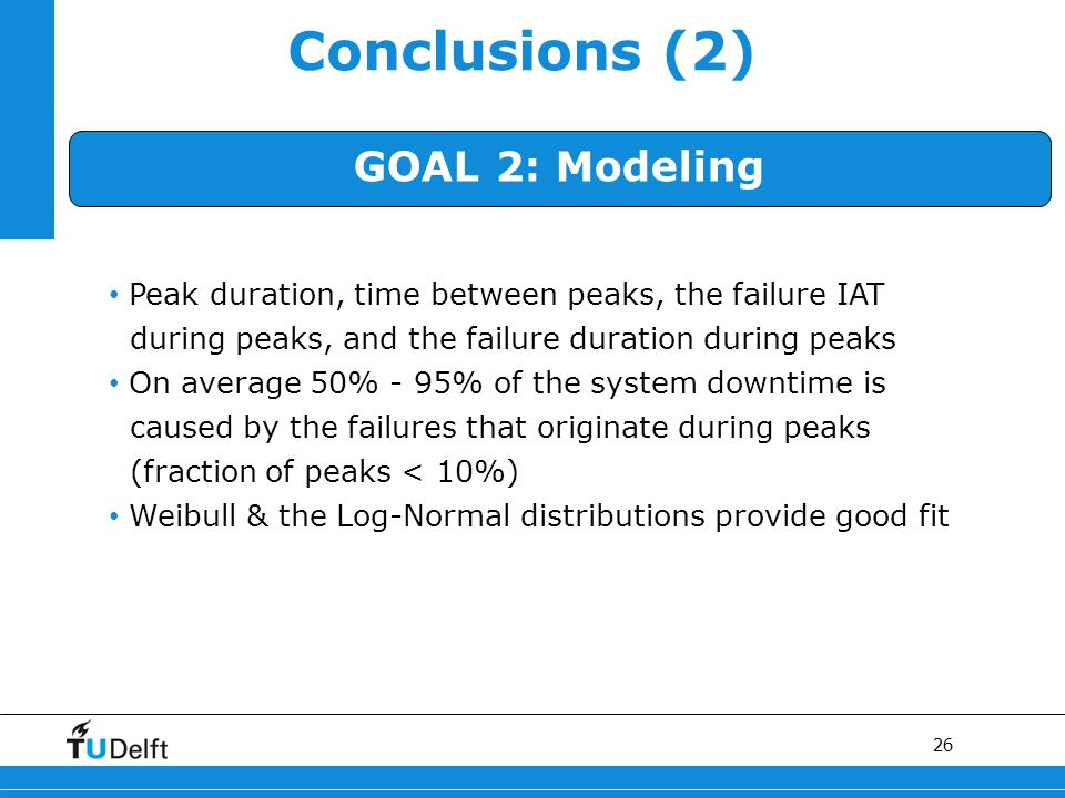 26 Conclusions (2) GOAL 2: Modeling Peak duration, time between peaks, the failure IAT during peaks, and the failure duration during peaks On average