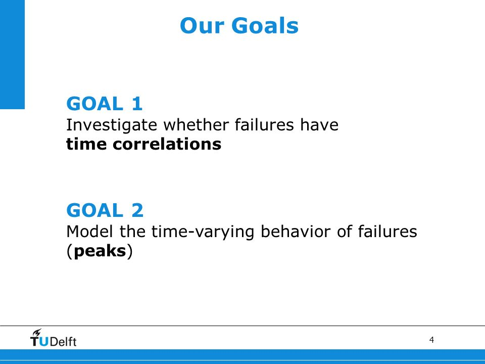 4 GOAL 1 Investigate whether failures have time correlations GOAL 2 Model the time-varying behavior of failures (peaks) Our Goals