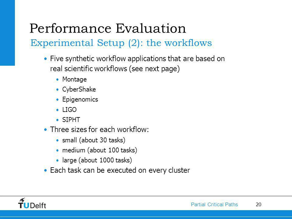 20 Partial Critical Paths Five synthetic workflow applications that are based on real scientific workflows (see next page) Montage CyberShake Epigenomics LIGO SIPHT Three sizes for each workflow: small (about 30 tasks) medium (about 100 tasks) large (about 1000 tasks) Each task can be executed on every cluster Performance Evaluation Experimental Setup (2): the workflows
