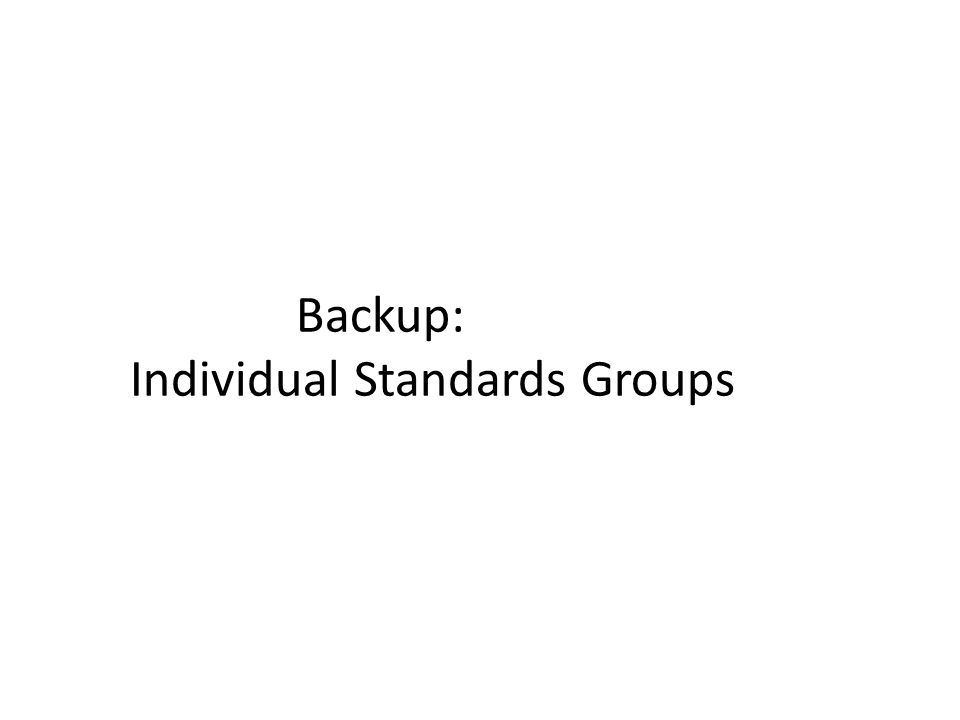 Backup: Individual Standards Groups