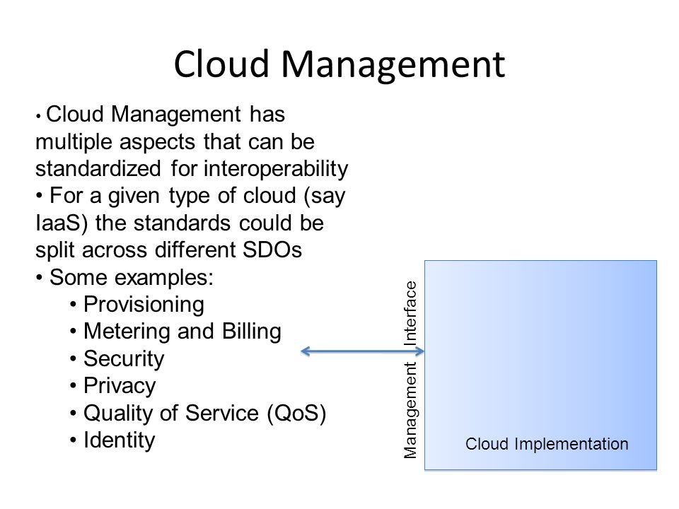 Cloud Management Cloud Implementation Management Interface Cloud Management has multiple aspects that can be standardized for interoperability For a given type of cloud (say IaaS) the standards could be split across different SDOs Some examples: Provisioning Metering and Billing Security Privacy Quality of Service (QoS) Identity