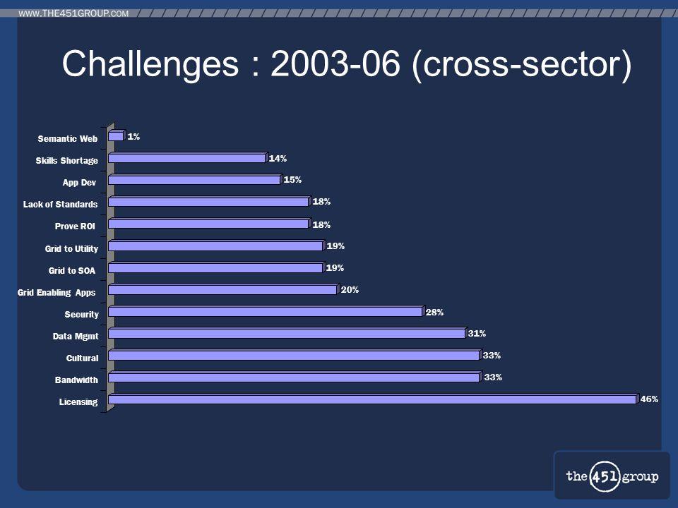 Challenges : 2003-06 (cross-sector) 46% 33% 31% 28% 20% 19% 18% 15% 14% 1% Semantic Web Skills Shortage App Dev Lack of Standards Prove ROI Grid to Ut
